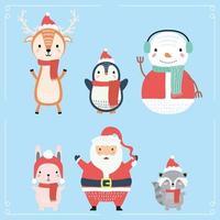 santa y animales con personajes de ropa navideña