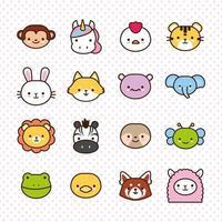 paquete de dieciséis animales kawaii en línea y estilo de relleno vector