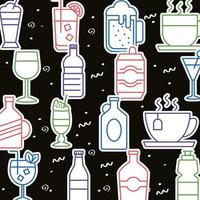 bundle of beverages pattern icons vector