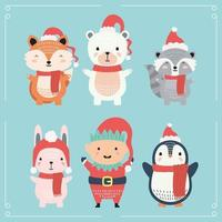 cute animal wearing christmas clothes characters vector