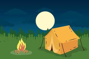 camping tent with campfire night scene vector