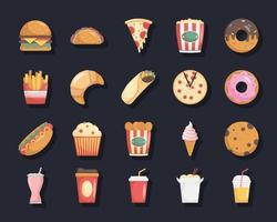 paquete de veinte iconos de comida rápida vector