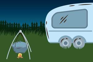 trailer camper house, night camp scene vector