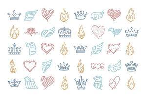 paquete de cuarenta alas y llamas con corazones y coronas vector