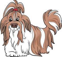 ilustración de dibujos animados de perro de raza pura shih tzu vector