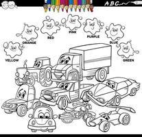 Libro de colores de colores básicos con personajes de coches. vector
