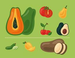 bundle of eight fresh fruits and vegetables, healthy food icons vector