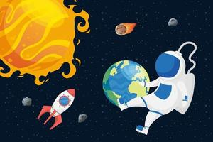 astronaut space character with planets and sun vector
