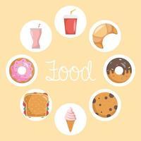 paquete de ocho iconos de comida rápida y letras vector