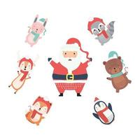 santa with cute animals around wearing christmas clothes characters vector