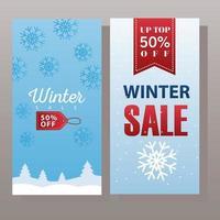 gran cartel de rebajas de invierno con etiqueta colgante y cinta vector