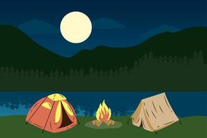 camping tents with campfire, lake night scene vector