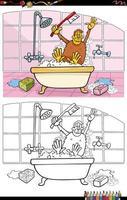 cartoon funny monkey in bath coloring book page vector