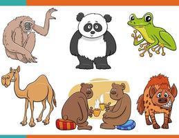 cartoon funny animal comic characters set vector