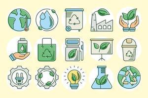 línea ecológica y terrestre y conjunto de iconos de relleno vector