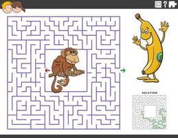 juego educativo laberinto con gracioso mono y plátano vector