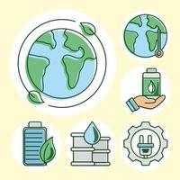 Eco and earth line and fill icon set vector