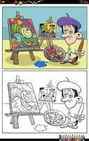 Pintor divertido de dibujos animados en la página del libro para colorear de estudio vector