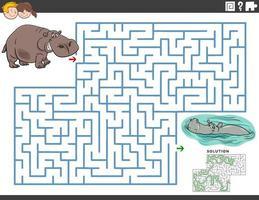 juego educativo de laberinto con divertidos personajes de animales hipopótamos vector
