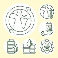 Eco and earth line icon set vector