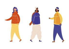 interracial women group wearing winter clothes characters