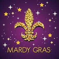 Mardi Grass celebration poster with fleur de lis vector