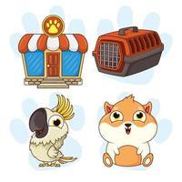 Kawaii conejillo de indias y loro con iconos de tienda de mascotas vector