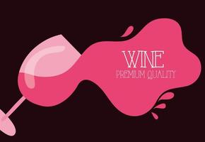 wine premium quality poster with pink cup vector