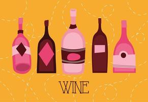 wine premium quality poster with bottles vector