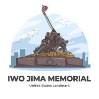 Iwo Jima Memorial United States Landmark Minimalist Cartoon vector