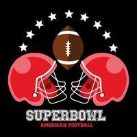Diseño deportivo de fútbol americano con cascos y pelota. vector