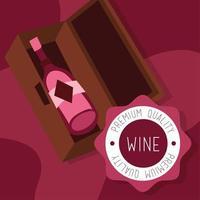 cartel de vino de primera calidad con botella en una caja. vector
