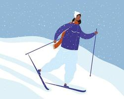 young afro woman wearing winter clothes and skiing