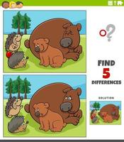 differences educational game for kids with bears and hedgehogs vector