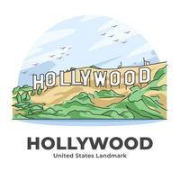 hollywood, estados unidos, emblemático, minimalista, caricatura