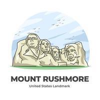 Mount Rushmore United States Landmark Minimalist Cartoon