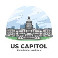 US Capitol United States Landmark Minimalist Cartoon vector