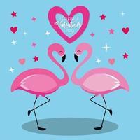 tarjeta de feliz dia de san valentin con pareja de flamencos vector