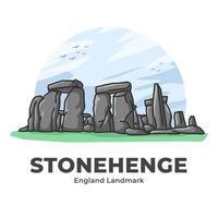 Stonehenge England Landmark Minimalist Cartoon vector