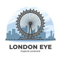 London Eye England Landmark Minimalist Cartoon vector