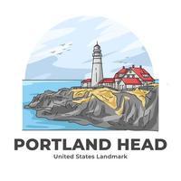 Portland Head Lighthouse United States Landmark Minimalist Cartoon vector