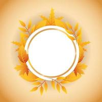 Autumn banner with foliage circular frame vector