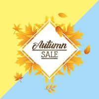 Autumn sale banner with foliage and diamond frame vector