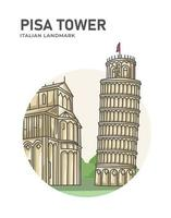Pisa Tower Italian Landmark Minimalist Cartoon vector