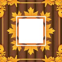 Autumn leaves foliage square frame vector
