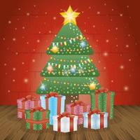 merry christmas card with pine tree and gifts vector