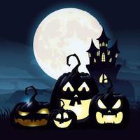 Halloween dark night scene with pumpkins and castle vector