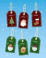 Christmas tag and label set vector