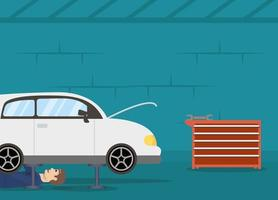 Mechanic man working on a car vector