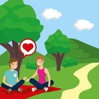 Couple doing outdoors activities vector